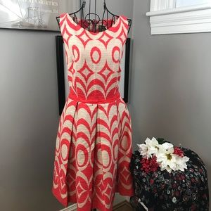 Just Taylor orange fit and flare sleeveless dress